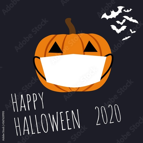 Photo illustration vector graphic of happy halloween 2020 with a pumpkin wear white mask