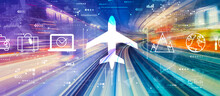 Flight Ticket Booking Concept With Abstract High Speed Technology POV Motion Blur