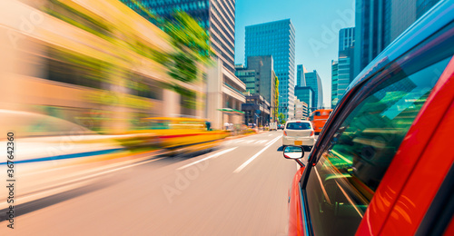 Motion blurred drive through the streets of Tokyo, Japan Wallpaper Mural