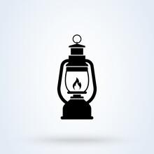 Camping Lanter Oil Lamp. Vector Simple Modern Icon Design Illustration.