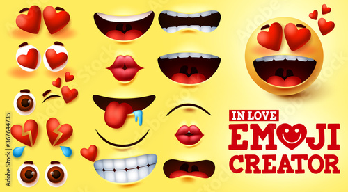 Fototapeta Emoji smiley in love vector creator set. Smiley emojis kit with hearts and in love face with editable facial expression for emoticon design and symbol element. Vector illustration  obraz