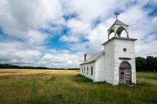 Abandoned Church In Wheat Field