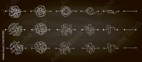 Fotografia Set of messy clew symbols line of symbols with scribbled round element, consept of transition from the complicated to simple, isolated on a chalkboard background Vector illustration
