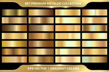 .Elegant Gold Gradient Color Metallic Set Collection. Gold, Rose Gold And Purple Gradient Set Collection