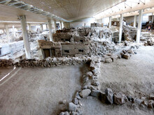The Akrotiri Excavations Archaeological Site In Santorini, Greece