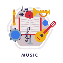 Music School Subject Icon, Edu...