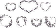 Set Of Hand Drawn Floral Heart