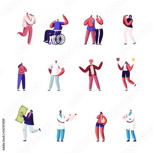 Fototapeta Set of Tiny Male and Female Characters Singing in Karaoke Bar, Woman with with Huge Money Bill, Hypocrisy and Disability obraz
