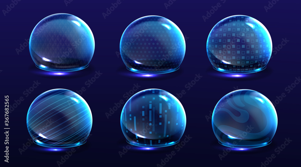 Fototapeta Force shield bubbles, energy glowing spheres or defense dome fields. Science fiction various deflector elements, firewall absolute protection isolated on blue background, Realistic 3d vector set
