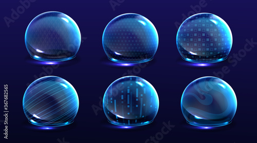 Fotografia Force shield bubbles, energy glowing spheres or defense dome fields