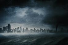 Modern City Scene With Heavy R...