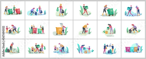 Fototapety, obrazy: people and children Recycle Sort organic Garbage in different container for Separation to Reduce Environment Pollution. Family with kids collect garbage. Environmental day vector cartoon