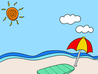 여름 바다와 해변 일러스트레이션