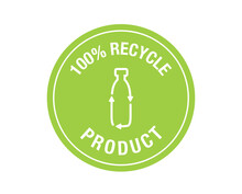100% Recycle Product Sign Vector. Recycle Icon.