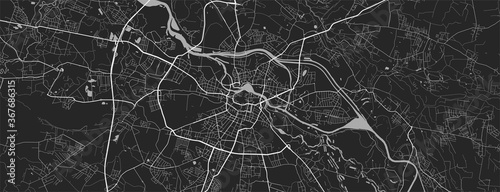 Fotomural Urban city map of Wroclaw. Vector poster. Grayscale street map.