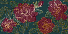 Golden Rose Backgroud Pattern. Floral Wallpaper Design For Textiles, Paper, Print, Pictures Wall.
