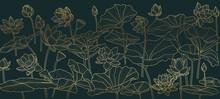 Golden Lotus  Background Patte...