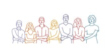 People Holding Hands Together In A Line. Hand Drawn Vector Illustration.