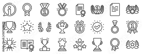 Papel de parede Set of Winner medal, Victory cup and Laurel wreath award icons