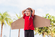 Happy Asian Funny Child Or Kid Little Boy Smile Wear Pilot Hat And Goggles Play Toy Cardboard Airplane Wing Flying Against Summer Sky Cloud On Trees Garden Background, Startup Freedom Concept