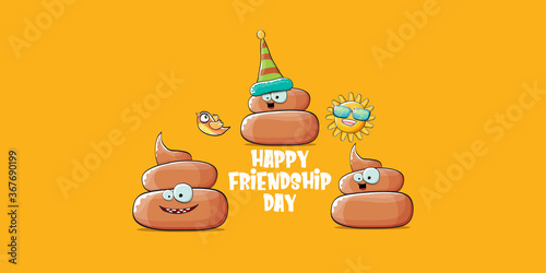 Fototapeta Happy friendship day horizontal banner or greeting card with vector funny cartoon poo friends characters isolated on abstract orange background. Best friends concept obraz