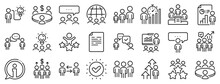 Conference, Seminar, Classroom. Meeting Line Icons. Team, Work And Business Idea Icons. Discussion, Classroom Job, People Management. Presentation, Office Meeting, Consultation. Vector
