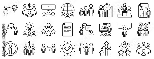 Obraz Conference, seminar, classroom. Meeting line icons. Team, work and business idea icons. Discussion, classroom job, people management. Presentation, office meeting, consultation. Vector - fototapety do salonu