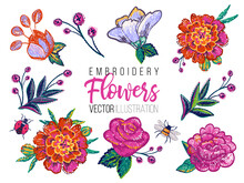 Set Of Flowers Embroidery Patches Elements, Marigold Rose. Fashion Patch Watercolor Style Illustration Isolated On White Background.