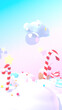 canvas print picture Cartoon sweet candy land. 3d rendering picture. (vertical)