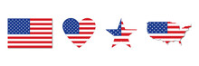 USA Flag . Isolated Set Of American National Flag Icons . Vector Illustration On White Background . Flag With Shadow , Different Shapes . 4th July .