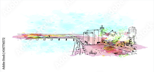 Fototapeta Building view with landmark of Ahmedabad, in western India, is the largest city in the state of Gujarat. Watercolor splash with hand drawn sketch illustration in vector. obraz
