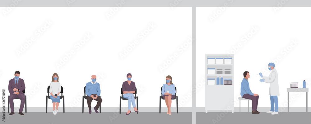 Fototapeta Test for throat infection in laboratory, hospital. Coronavirus Covid 19 testing