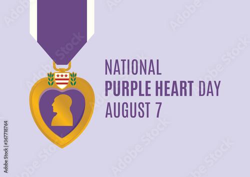 Obraz National Purple Heart Day vector. Purple Heart medal vector. Purple Heart Day Poster, August 7. Important day - fototapety do salonu
