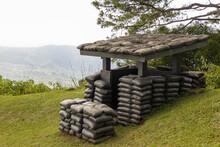 Sandbag Bunker Of The Old Military Bunker Base On The Mountain. Old Bunker War Make Of Sandbag For The Military On The Mountain.