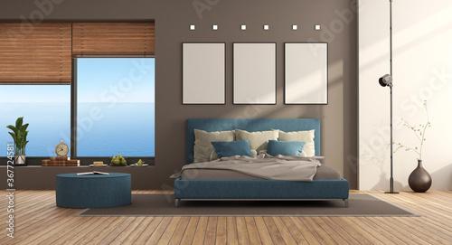 Obraz Blue and brown modern bedroom - fototapety do salonu