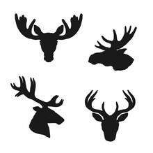 Elk Moose And Deer Silhouettes...