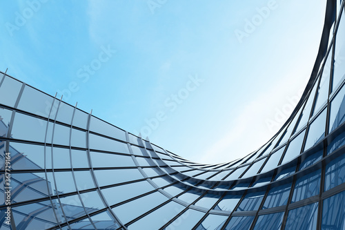 Abstract futuristic architecture, Skyscraper of curve glass office building. 3D render.  - 367729164