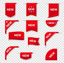 Label Banners For Web Page, NEW Tag Badges, Vector Icons. Red Sticker Signs, Corner Label Banners And Ribbons For Product Promotion Sale, New Arrival In Store And Online Shop Special Price Offers