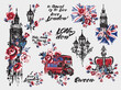 Watercolor London vector illustration collection. Retro british grunge graphic for textile design or t-shirt print. Isolated elements on white background
