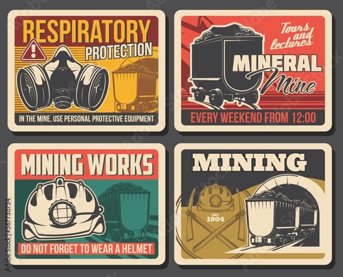 Cuadros en Lienzo Ore and coal mining poster, mine industry factory and miner equipment, vector