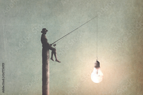 illustration of man fishing new ideas, creativity surreal concept
