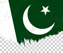 Grunge-style Flag Of Pakistan On A Transparent Background.