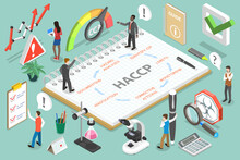 3D Isometric Vector Concept Of Hazard Analysis And Critical Control Points, HACCP Steps As Are Hazard Analysis, Identify CCP, CCP Limits, Monitoring, Corrective Actions, Verification, Documentation