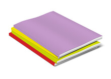 Stack Of Blank Colored Cover Paperback Books. Brochure, Booklet, Catalog Or Magazine Pile. Vector Template