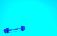 Blue Barbell Icon Isolated On Blue Background. Muscle Lifting Icon, Fitness Barbell, Gym, Sports Equipment, Exercise Bumbbell. Minimalism Concept. 3d Illustration 3D Render.