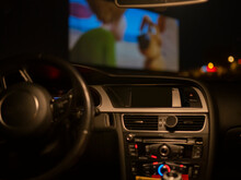 Car Interior In A Drive-in Watching A Movie