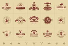 Butcher Shop Logos Set Vector ...