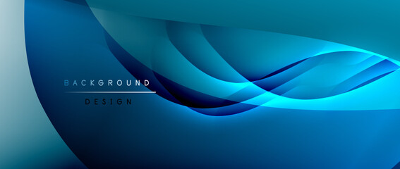 Fototapeta na wymiar Fluid gradient waves with shadow lines and glowing light effect, modern flowing motion abstract background for cover, placards, poster, banner or flyer