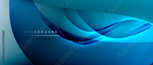 Fotografie, Obraz Fluid gradient waves with shadow lines and glowing light effect, modern flowing