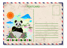 Travel Postcard With Postage Stamp And Seal.